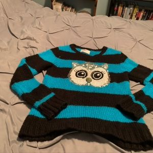 JUSTICE Girl's Blue OWL Sweater.  Size 12